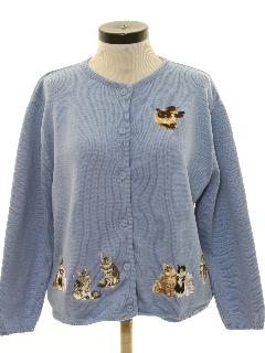 1990's Womens Cheesy Cat Sweater