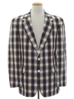 1980's Mens Plaid Preppy Blazer Sport Coat Jacket