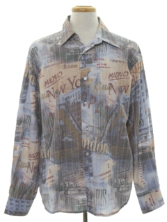 1970's Mens Print Disco Style Club or Rave Shirt