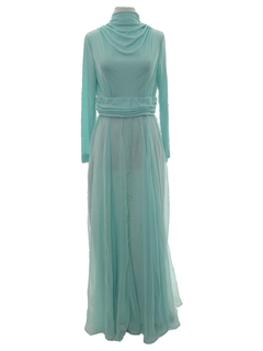 1970's Womens Designer Cocktail Maxi Dress
