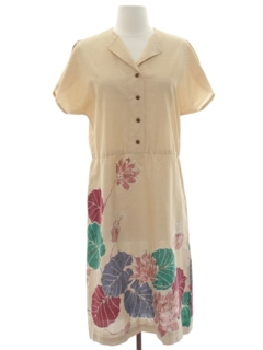 1980's Womens Hawaiian Style Day Dress