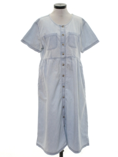 1980's Womens Totally 80s Oversized A-Line Denim Dress