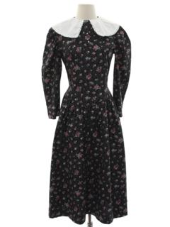 1980's Womens Victorian Style Prairie Dress