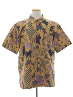 1980's Mens Batik Print Shirt