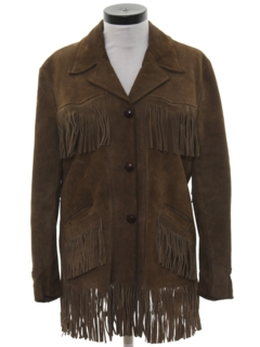 1970's Womens Fringed Hippie Western Suede Leather Jacket