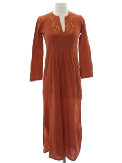 1990's Womens Embroidered Hippie Maxi Dress
