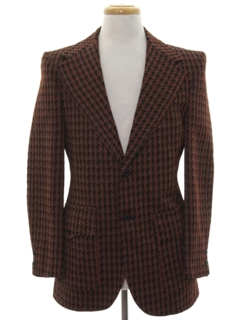 1970's Mens Mod Plaid Disco Blazer Sport Coat Jacket