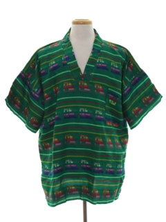 1970's Mens Guatamalen Style Hippie Shirt