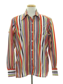 1970's Mens Cotton Blend Print Disco Style Sport Shirt