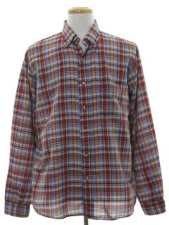 1980's Mens Preppy Plaid Sport Shirt