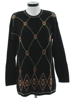 1980's Womens Beaded Cocktail Sweater
