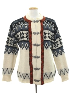 1980's Mens Nordic Dale Of Norway Style Ski Sweater