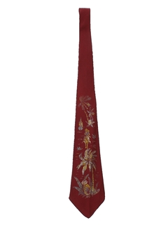 1940's Mens Hand Painted Wide Swing Cowboy Necktie