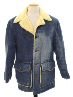 1970's Mens Hippie Denim Car Coat Length Jacket