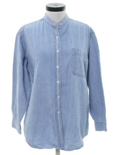 1980's Womens Totally 80s Oversized Chambray Shirt