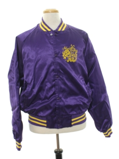 1990's Mens Cheesy Tourist Satin Baseball Jacket