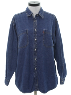 1990's Womens Totally 80s Oversized Denim Shirt