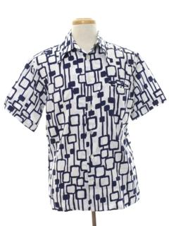 1960's Mens Mod Op-Art Print Disco Shirt