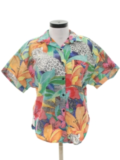 1980's Womens Totally 80s Reverse Print Hawaiian Shirt