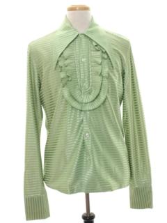 1960's Mens Mod Ruffled Tuxedo Shirt