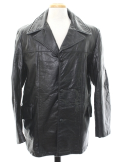 1970's Mens Leather Car Coat Jacket