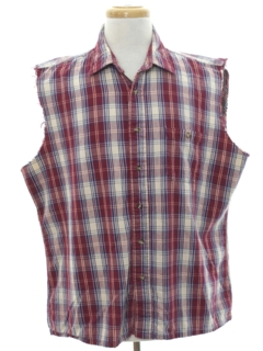 1990's Mens Sleeveless Grunge Joe Dirt Style Flannel Shirt
