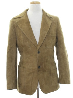 1970's Mens Suede Leather Blazer Sport Coat Jacket
