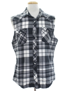 1990's Unisex Grunge Cut Off Sleeveless Flannel Western Shirt