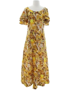 1970's Womens Mod Hawaiian Muu Muu Maxi Dress