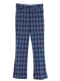 1970's Mens/Boys Flared Plaid Leisure Pants