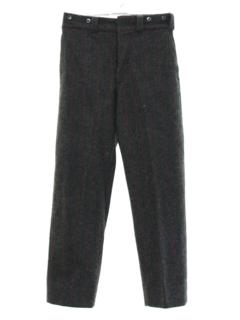 1960's Mens Mod Flat Front Wool Lumberjack Pants
