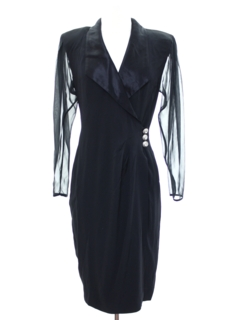 1990's Womens Cocktail Wiggle Style Little Black Overdress Dress