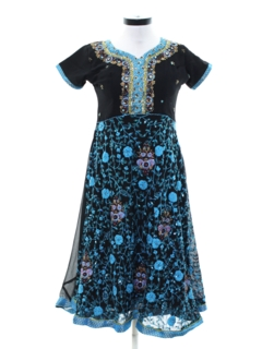 1980's Womens Embroidered Prom or Cocktail Dress
