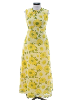 1960's Womens Hippie Prom Or Cocktail Dress