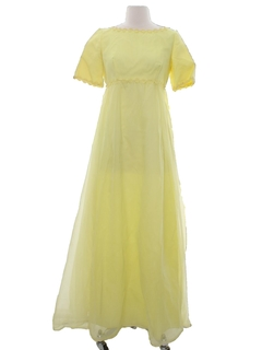 1970's Womens Hippie Style A-Line Prom or Cocktail Maxi Dress