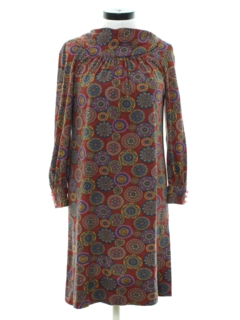 1970's Womens Shift Style Hippie Dress