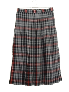 1950's Womens Pleated Plaid Skirt