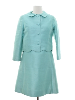 1960's Womens Designer Two Piece Jackie O Style A-Line Dress