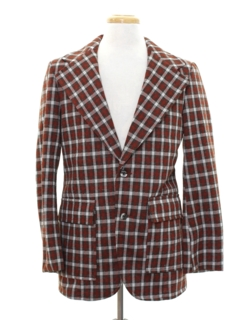 1970's Mens Plaid Disco Blazer Style Sport Coat Jacket