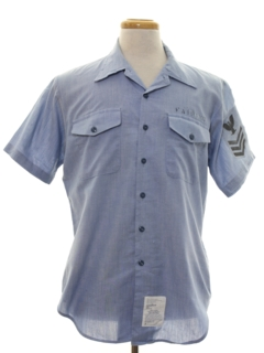 1980's Mens Navy Issue Chambray Shirt