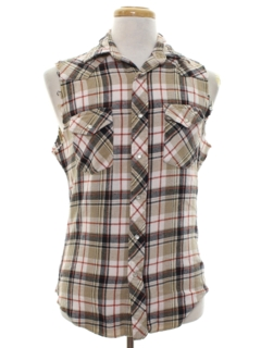 1990's Unisex Sleeveless Grunge Joe Dirt Style Western Flannel Shirt