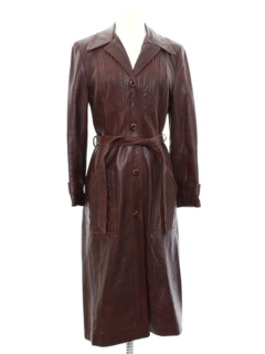 1970's Womens Leather Overcoat Or Trench Jacket