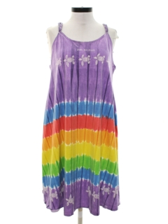 1980's Womens A-Line Hawaiian Coverup or Sun Dress