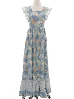 1970's Womens Hippie Prairie Maxi Dress