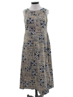 1960's Womens Mod Barkcloth Hawaiian Maxi Dress