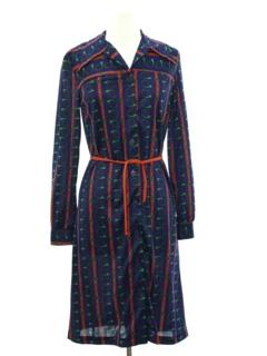 1970's Womens Print Disco Dress