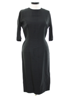1960's Womens Designer Little Black Wiggle Cocktail Dress