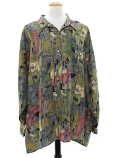 1980's Mens Totally 80s Graphic Print Silk Sport Shirt