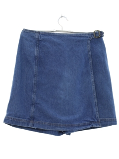 1990's Womens Denim Mini Wrap Skort Skirt Shorts