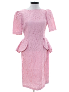 1980's Womens Totally 80s Pretty in Pink Lace Prom Dress
